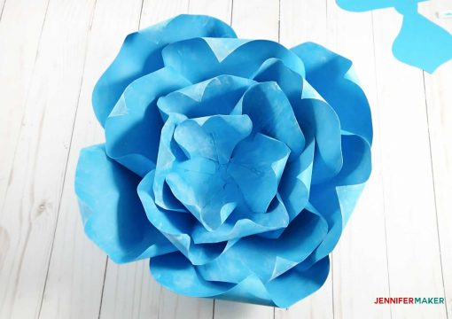 Most petals are now attached to the giant paper winter rose