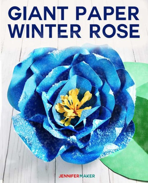 Giant Paper Winter Rose is perfect for winter wedding decor!   Cricut and Silhouette SVG cut file and tutorial   Christmas Rose   Paper Hellebores