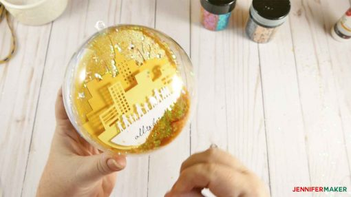 The sealed glitter ball ornament