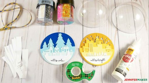 Materials to make the Glitter Ball Ornament with Two Sides and Two Scenes
