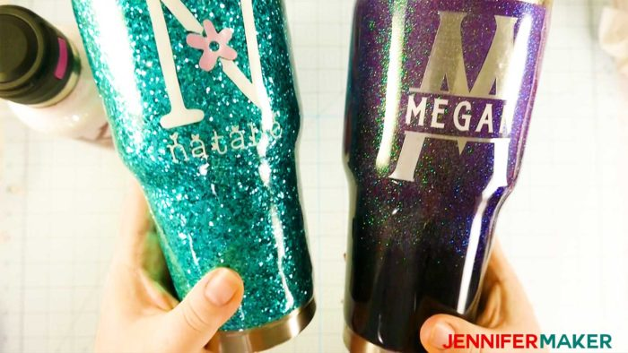 Two glitter tumblers -- one with chunky glitter and one with fine glitter