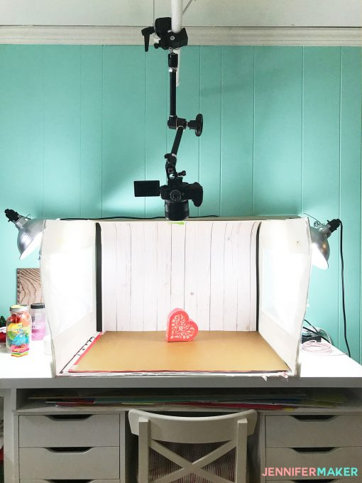 My old lightbox in my craft room, used for great blog photos and videos