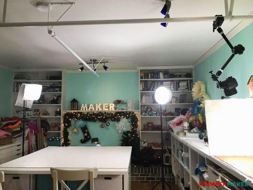 My diffused lamps on tripods in my craft room with overhead mounting system used to take great blog photos