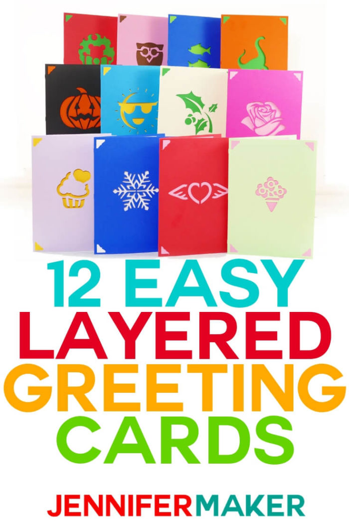 These Easy Layered Greeting Cards can be assembled in minutes for the perfect homemade card. Click here to download the free cut files and see the tutorial. #cricut #cricutmade #cricutmaker #cricutexplore #svg #svgfile