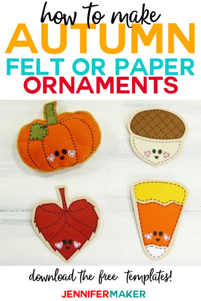 Learn how to make these super-cute autumn and Halloween friends. You can make them out of paper or felt for a variety of projects. #cricut #cricutmade #cricutmaker #cricutexplore #svg #svgfile