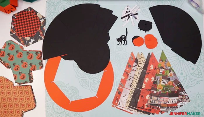 Cardstock pieces cut to make the DIY Halloween Countdown Calendar