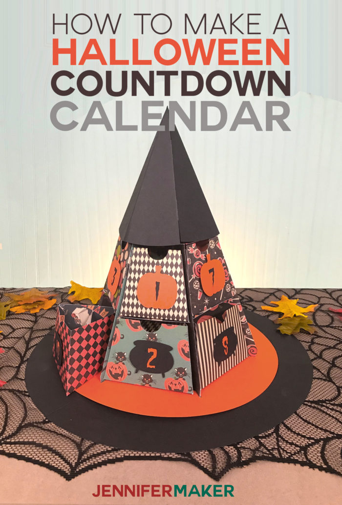 DIY Halloween Countdown Calendar: Witch Hat with Treat Boxes | Made on a Cricut #halloween #papercraft #cricut