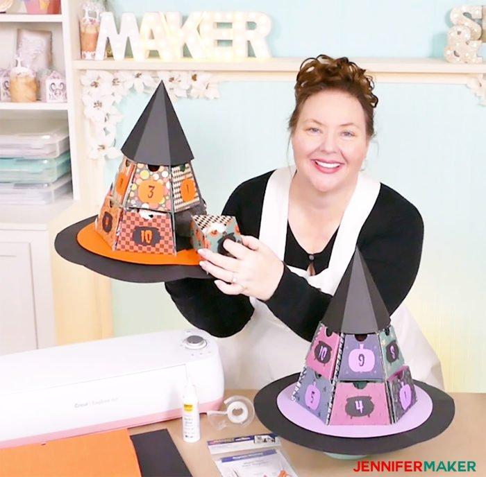 Jennifer Maker with the DIY Halloween Countdown Calendars made on a Cricut!