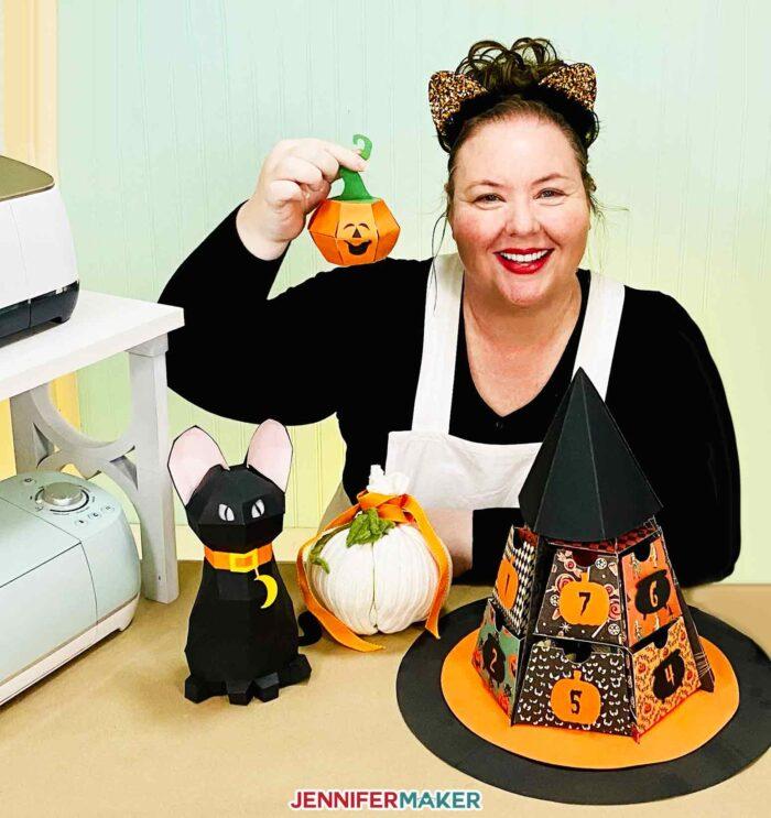 Jennifer Maker with her favorite Halloween crafts
