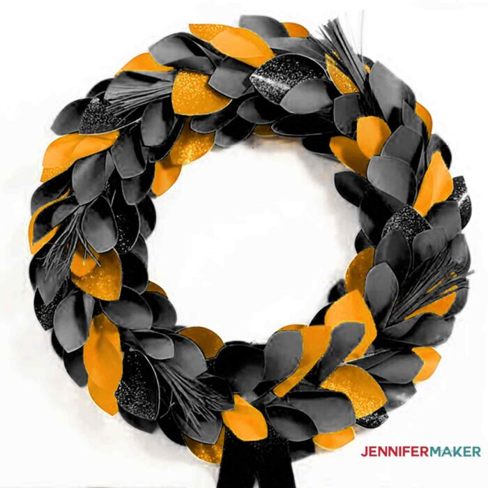 Halloween paper wreath in black and orange