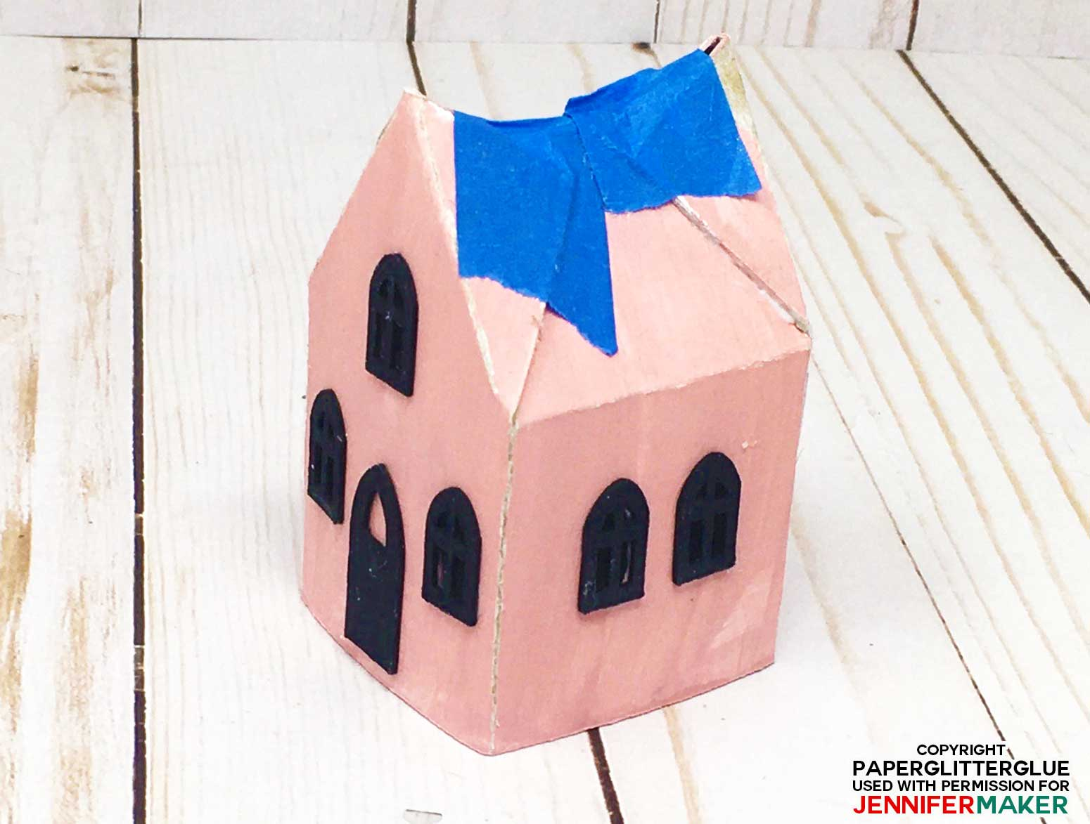 Roof tabs and flaps on the little Halloween Paper Haunted House