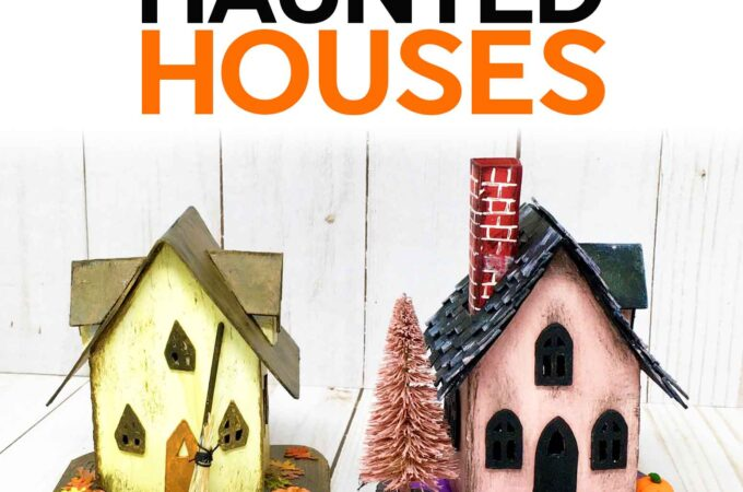 Make Paper Haunted Houses for Halloweens with these free SVG cut files for Cricut and patterns for handcutting #svgcutfile #cricut #halloween