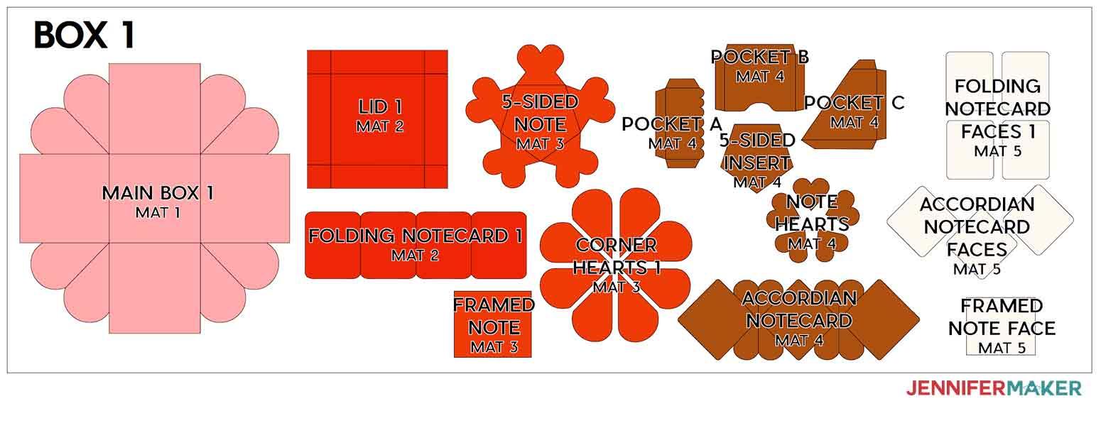 Heart Explosion Box Template - Free SVG File! - Jennifer Maker Throughout Card Box Template Generator