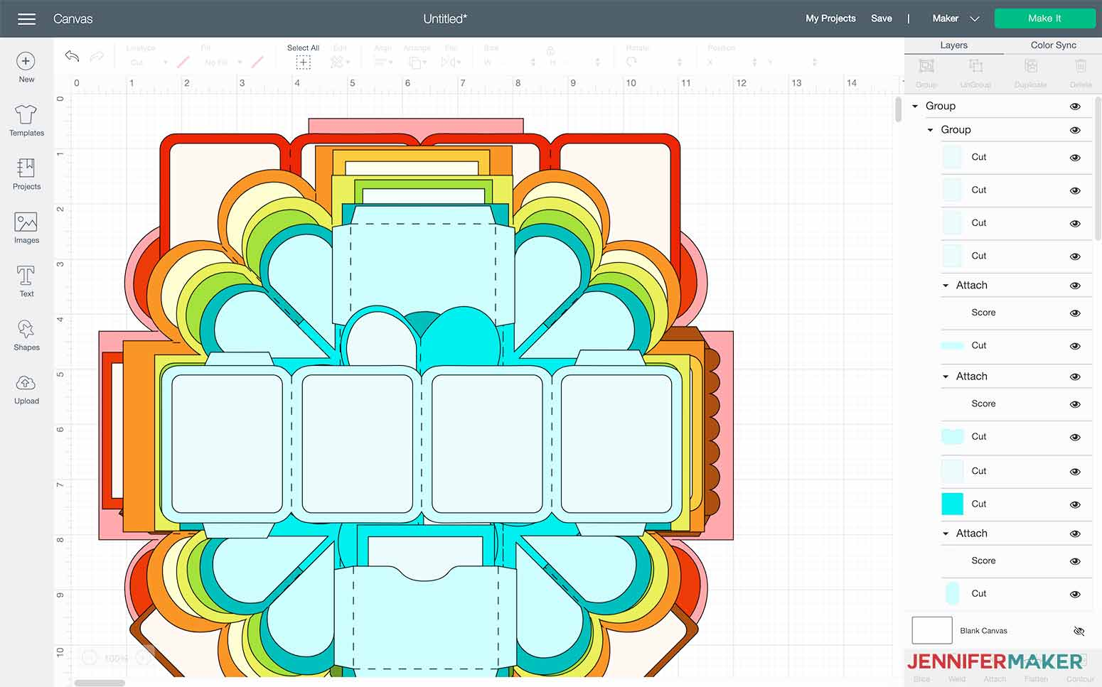 This is what my heart explosion box SVG looks like in Cricut Design Space