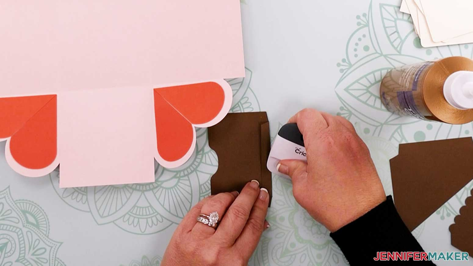 Fold the flaps of the pocket piece for my heart explosion box
