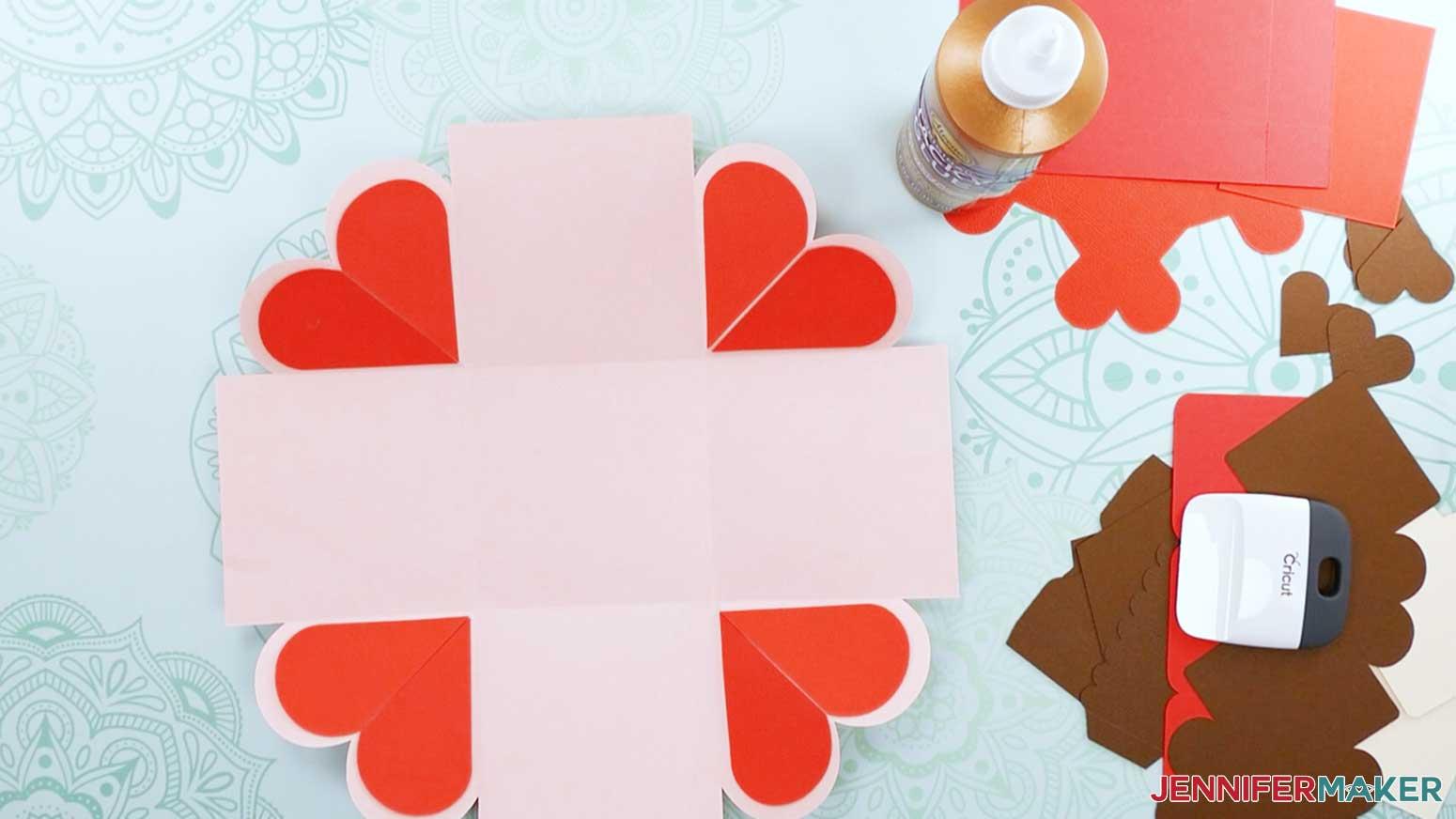 This is what your box one should look like folded and with the hearts glued in the corners for my heart explosion box