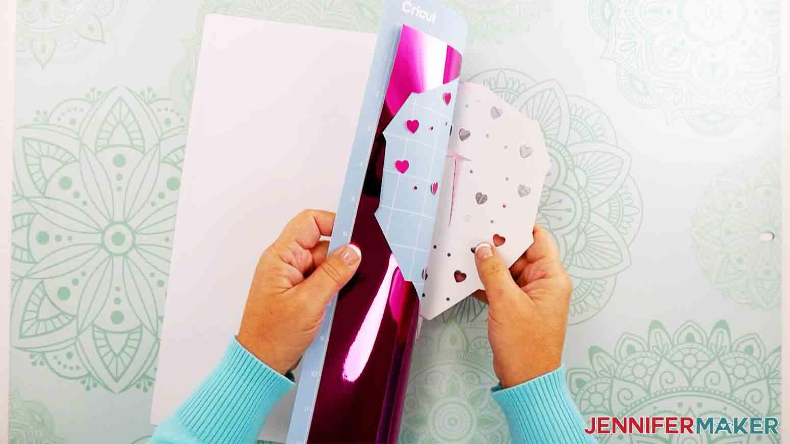 peeling kraft board off mat for heart lantern