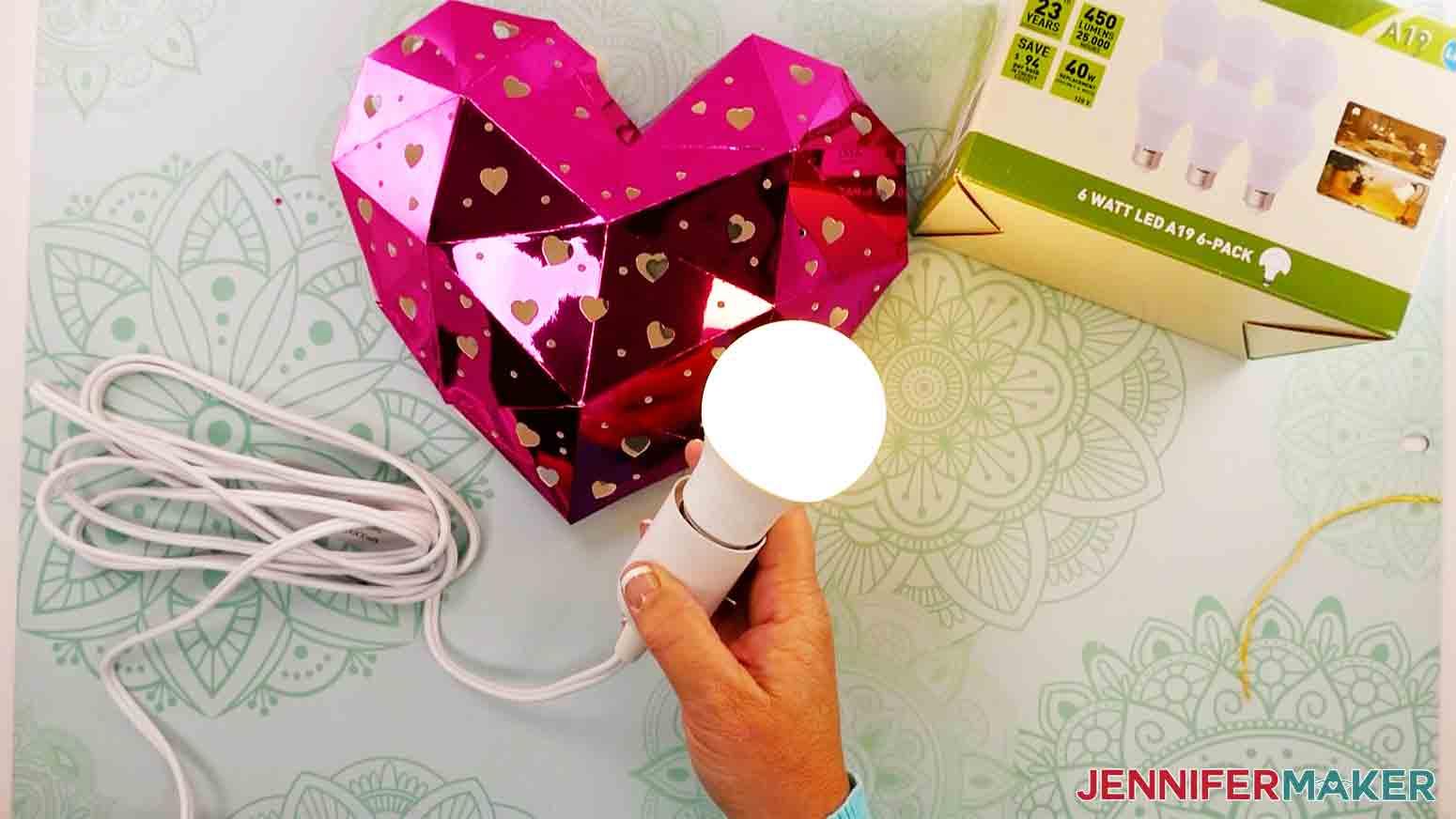 test the light bulb for the heart lantern
