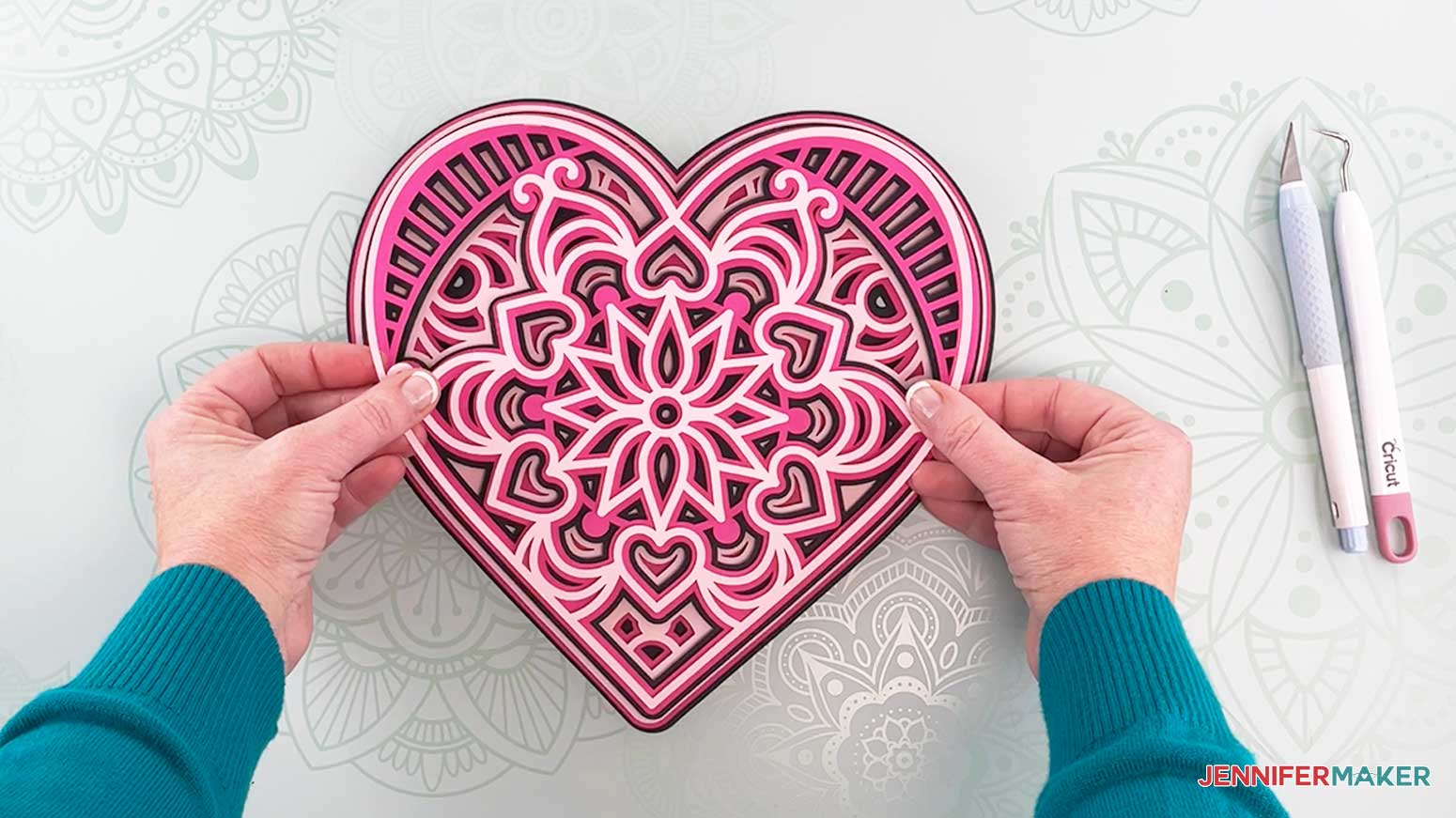 Place layer one on top of layer two to make my heart mandala