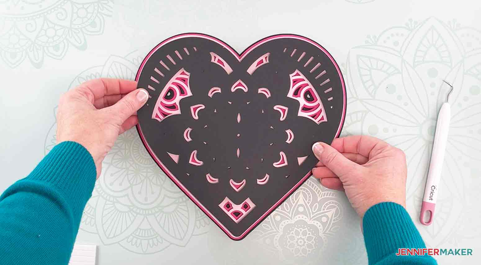 Place layer three onto layer four to make my heart mandala