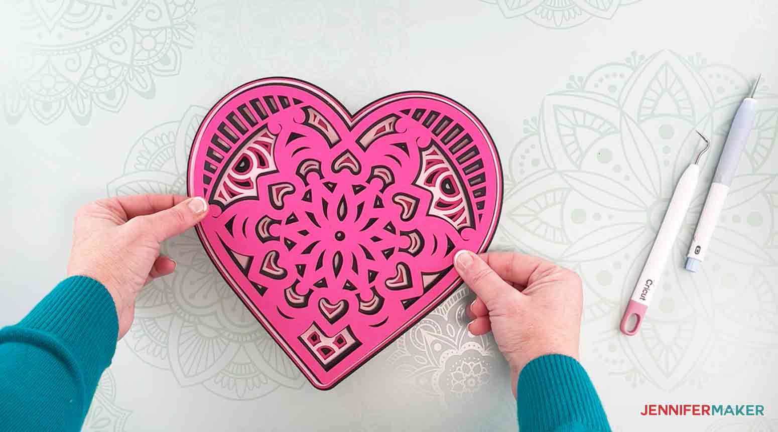 Place layer two on top of layer three to make my heart mandala