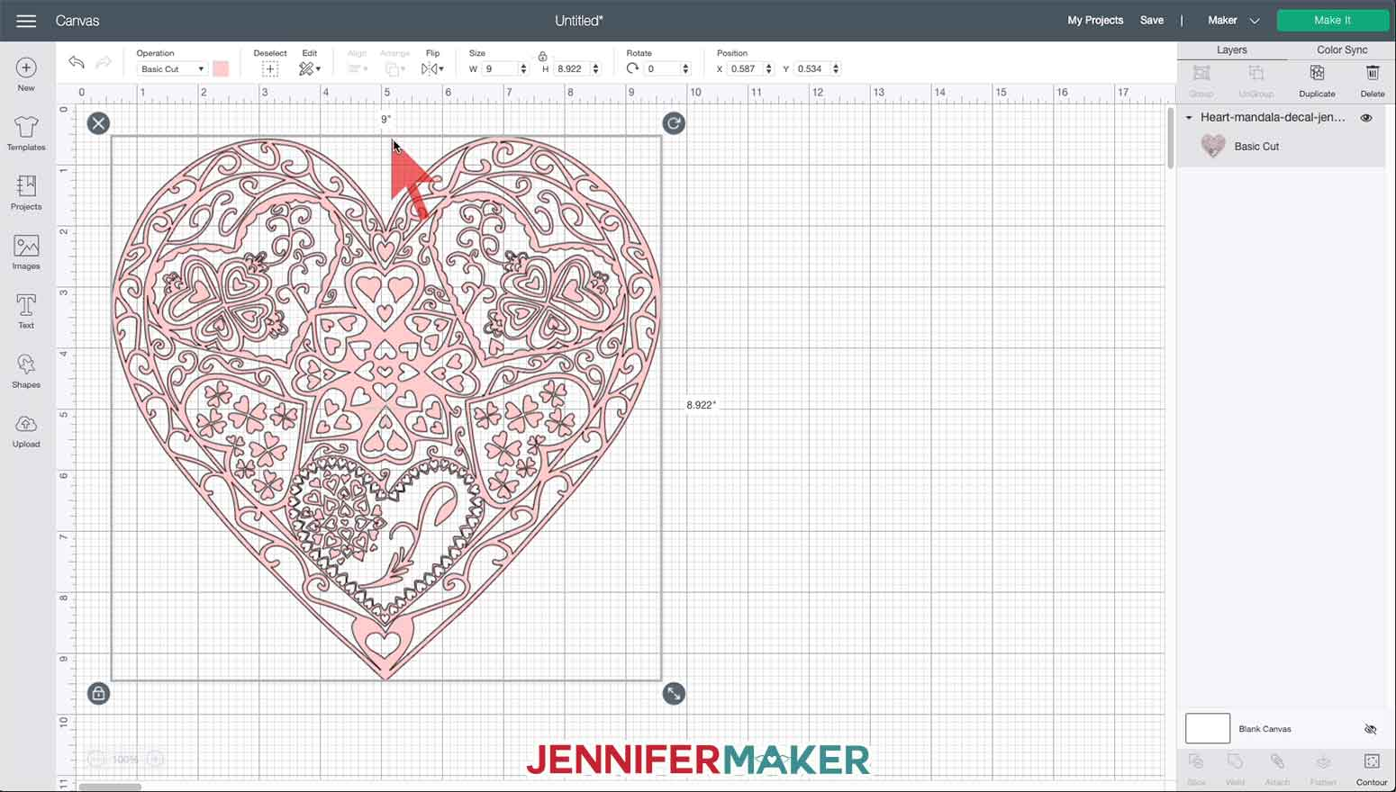 Heart Mandala SVG uploaded to Cricut Design Space