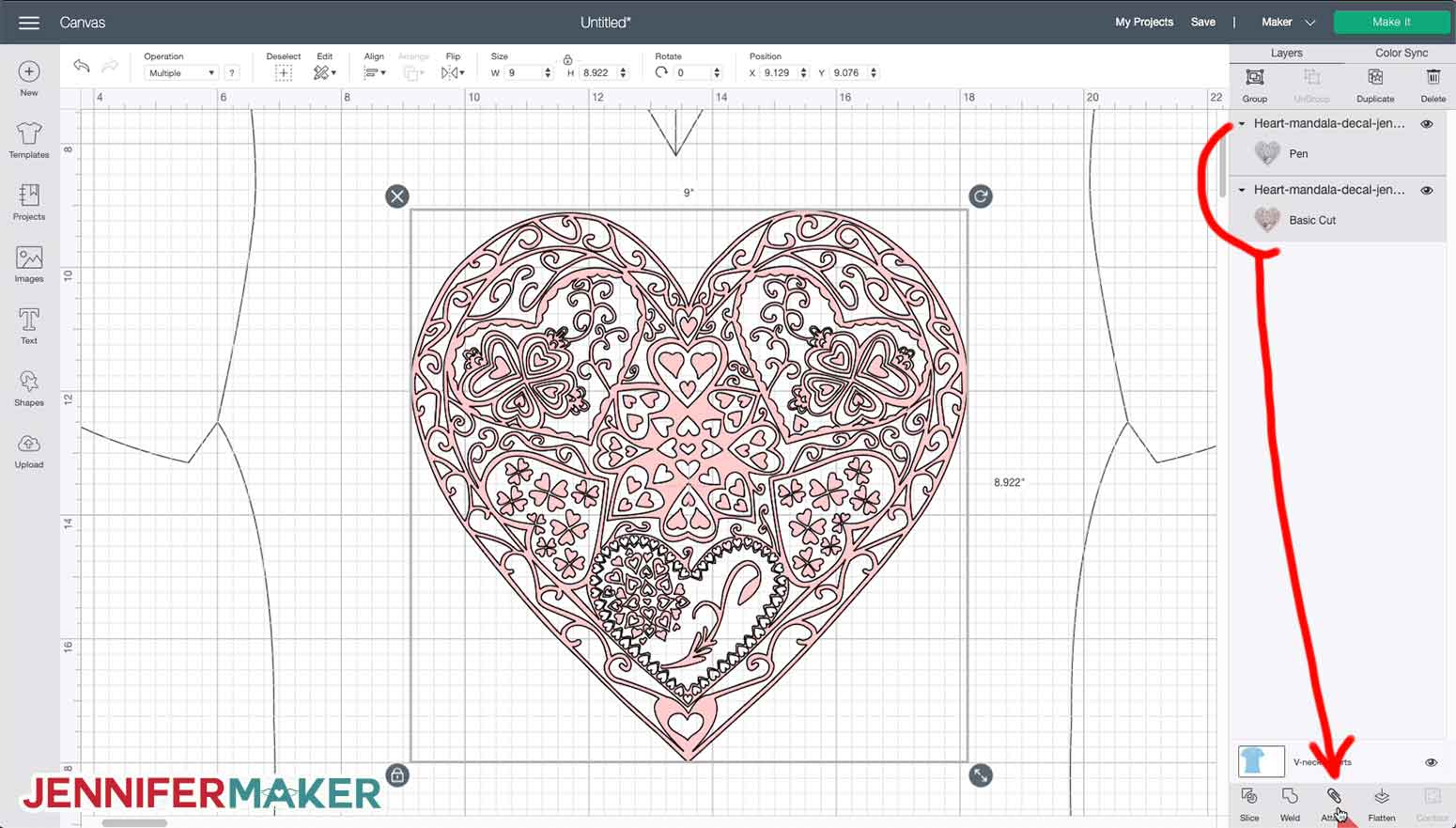 Duplicating the heart mandala SVG in Cricut Design Space