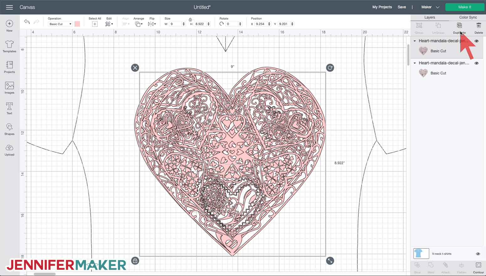 Attaching the draw layer to the cut layer on the heart mandala svg