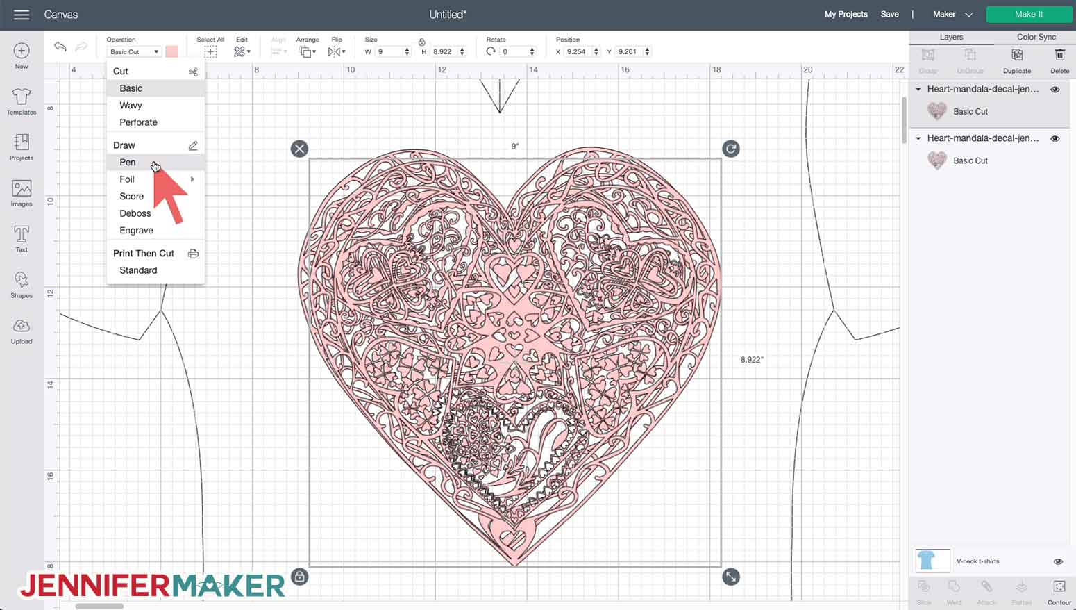 Center aligning two layers in Cricut Design Space to make the heart mandala SVG iron on decal