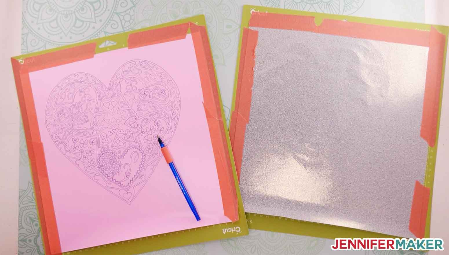 Ball point pen on cut lines helps you weed glitter iron on vinyl with the heart mandala SVG