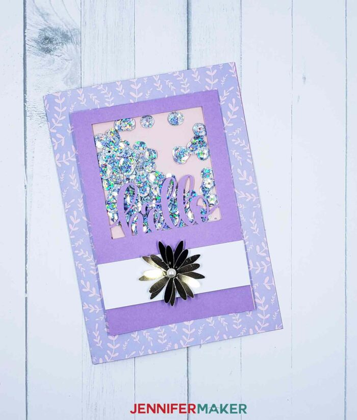 purple shaker card with a flower