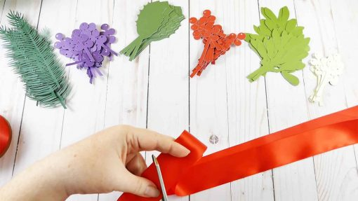 "Cut 18"" of ribbon for your holiday kissing ball"
