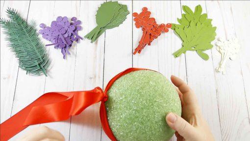 Wrap your ribbon around your styrofoam ball