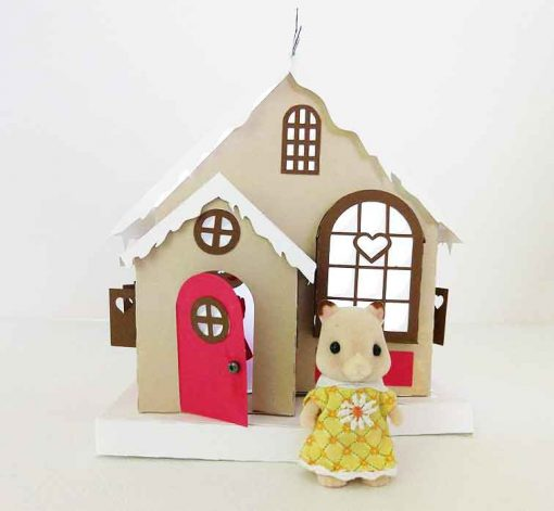 Maker Heart Cottage Paper House made by Amygonnacraft and designed by JenniferMaker