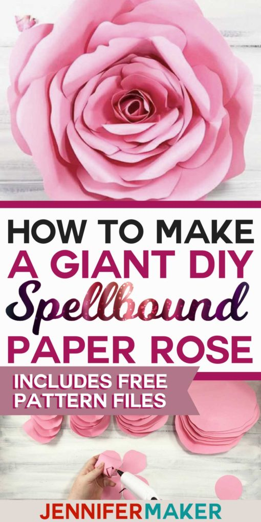 How to make a giant paper rose with free PDF pattern and SVG cut files #paperflower #cricut #silhouette