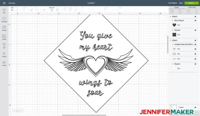A vinyl decal uploaded to Cricut Design Space for glass etching