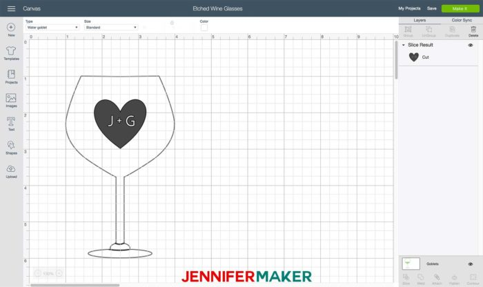 A heart with initials in it on Cricut Design Space for a vinyl decal to be used for etching glass