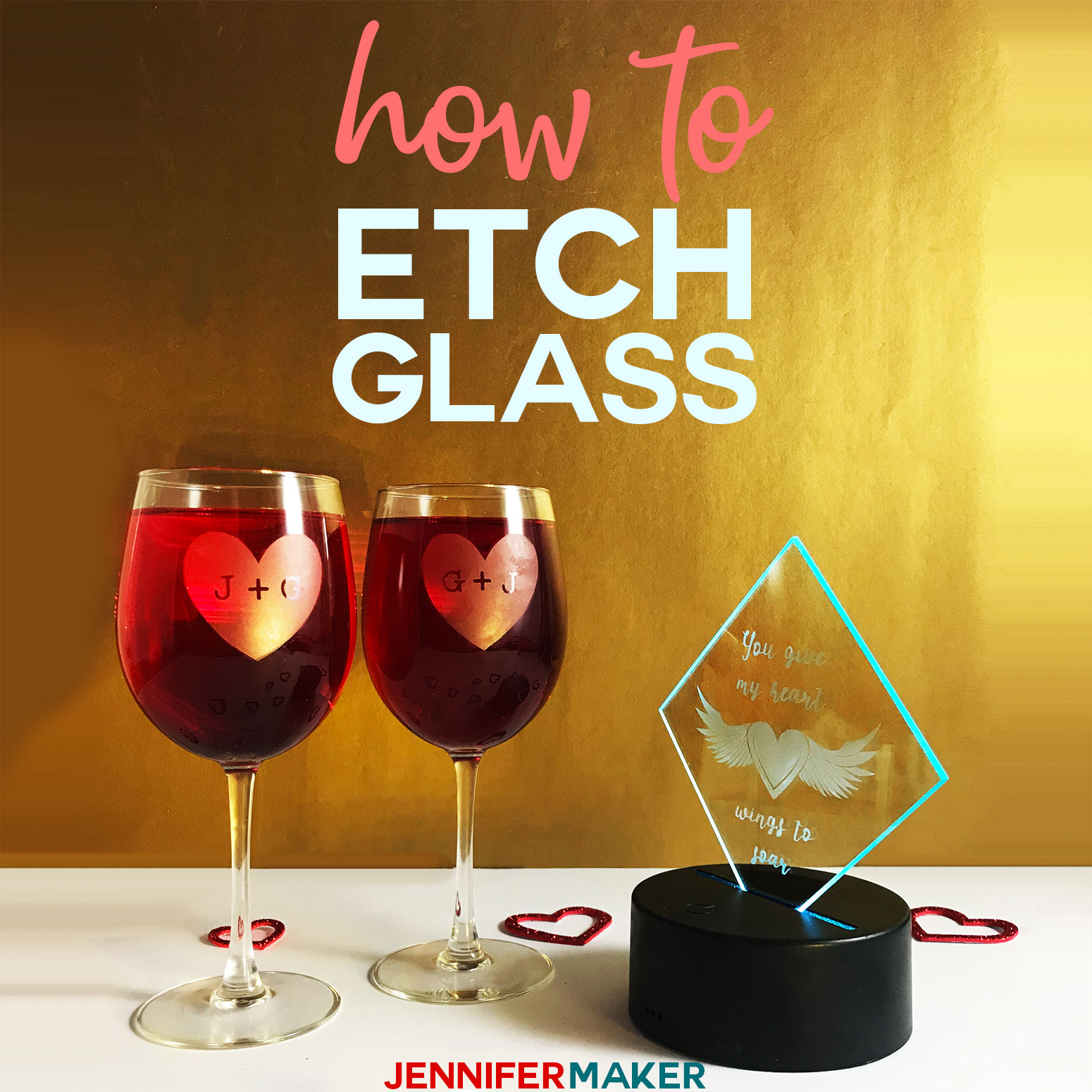 How to etch glass the easy way with vinyl decals cut on your Cricut and Armour Etch! #cricutmade #cricutdesignspace #etching #diyhomedecor #diygift