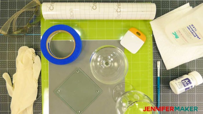 Materials for etching glass, including Armour Etch, vinyl, scraper, tape, and alcohol