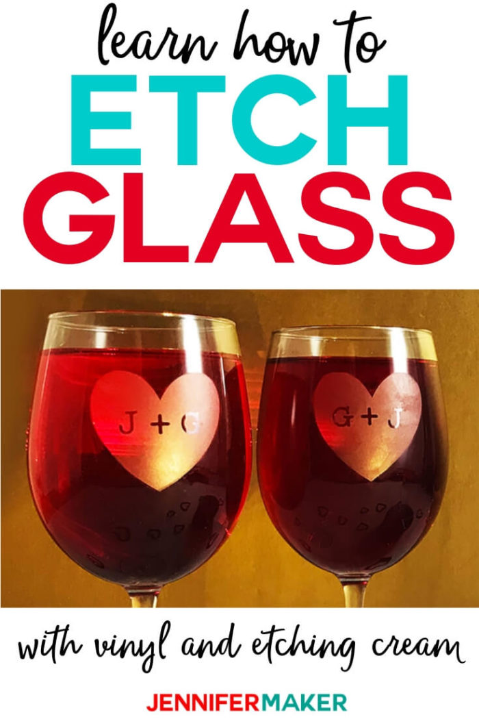 Learn the easy way to etch glass using vinyl decals you can cut on your Cricut and glass etching cream!  #cricut #cricutmade #cricutmaker #cricutexplore #diy #tutorial