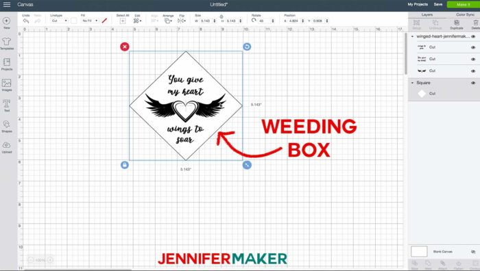 A Cricut Design Space window showing a weeding box around a vinyl design intended for etched glass