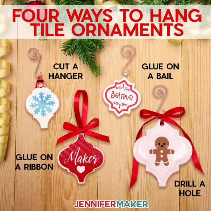 Four ways to hang ceramic tile ornaments - cut a hanger, glue on a jewelry bail, hot glue on a ribbon, drill a hole
