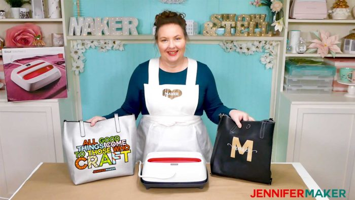 Jennifer and her layered iron on vinyl tote bags made with the Cricut EasyPress 2