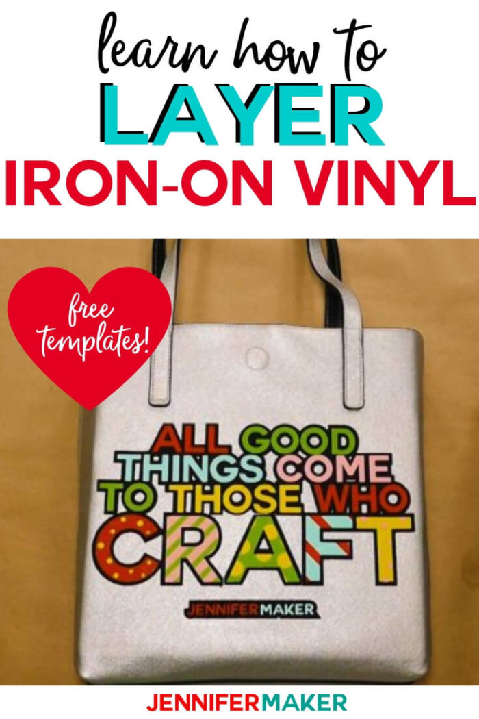Personalize a faux leather tote bag with layered iron on vinyl for a classy look on a budget! You can download and use my layered iron on vinyl design for free!  #cricut #cricutmade #cricutmaker #cricutexplore #svg #svgfile
