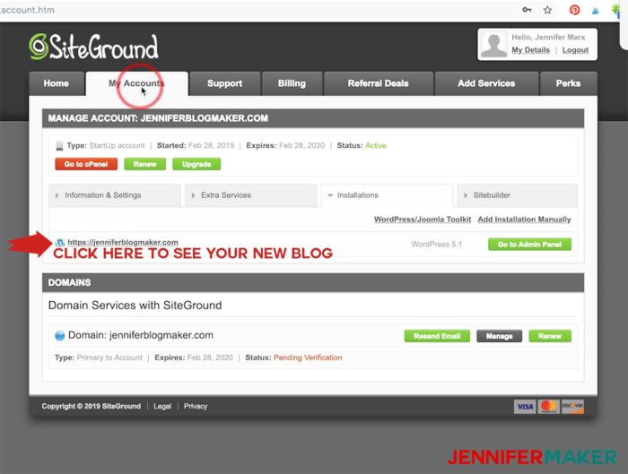 The Siteground Customer Area gives you access to your WordPress blog