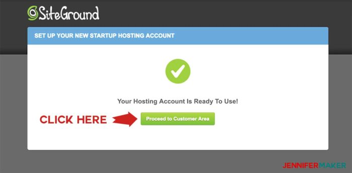 Setup is complete for Siteground's WordPress installation wizard