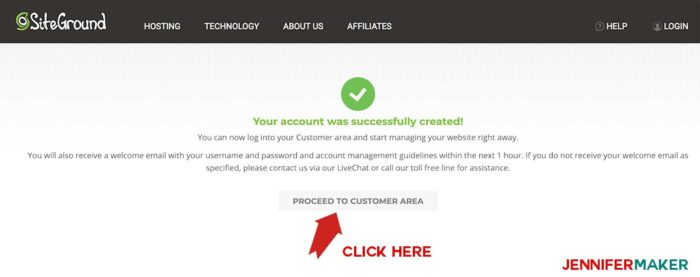 Confirmation screen that appears after setting up a hosting account on Siteground to make a blog site with WordPress