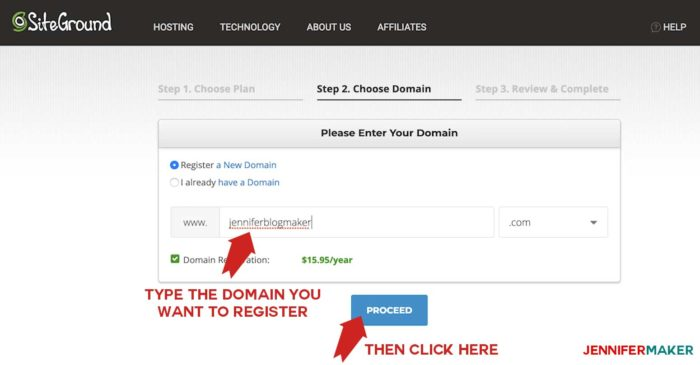 Entering a domain name to be registered while making a self-hosted WordPress blog site on Siteground
