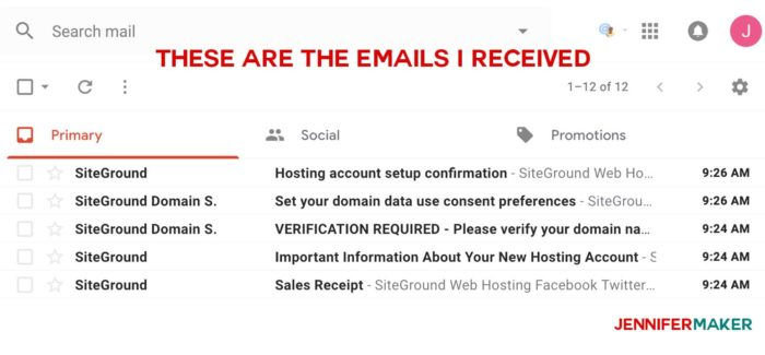 Emails received after registering a new hosting account and domain name with Siteground