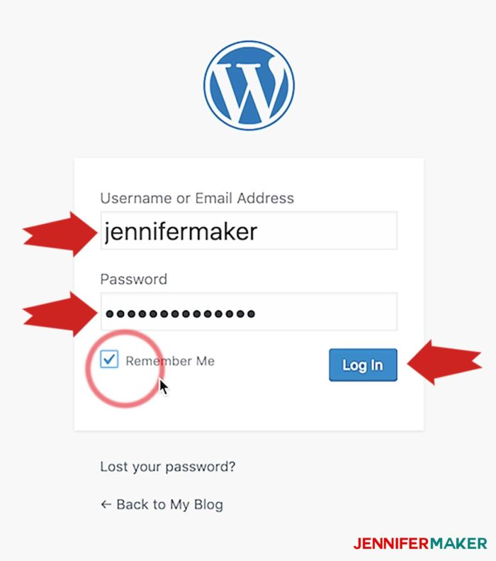 Login to the WordPress login page on your new blog site
